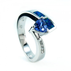 Elegant Australian Opal Ring with Tanzanite