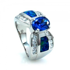 Bow Like Australian Opal Ring with Tanzanite