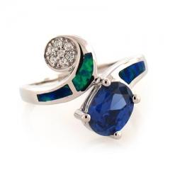 Australian Opal Stylish Ring with Tanzanite