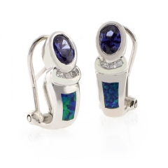Blue Opal Oval Cut Tanzanite Silver Earrings