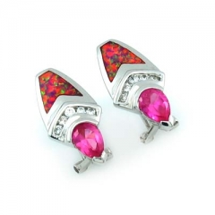 Pink Australian Opal with Pink Sapphire Earrings