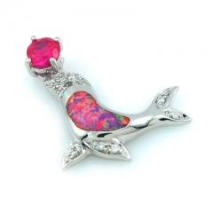 Pink Australian Opal Dolphin Pendant