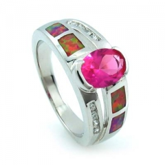 Australian Opal Ring with Oval Cut Pink Sapphire