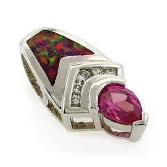 Pink Australian Opal with Pink Sapphire Pendant