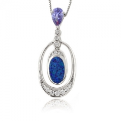 Amazing Tanzanite and Opal Pendant