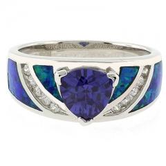 Australian Opal Ring with Trillion Cut Tanzanite