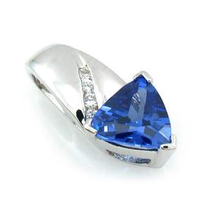 Trillion Cut Tanzanite Silver Pendant