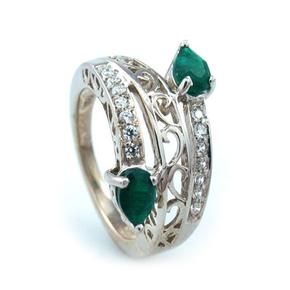 Emerald Quartz Silver Ring