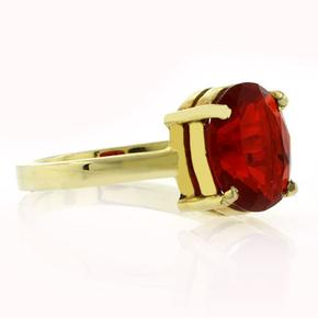 14K Yellow Gold Fire Cherry Opal Ring