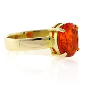 Very High Quality 14K Gold Fire Cherry Opal Ring