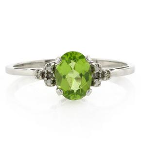 Genuine Diamond and Peridot White Gold Ring