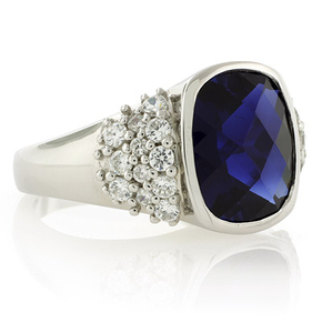 Sterling Silver Oval Cushion Cut Sapphire Ring