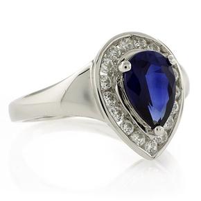 Pear Cut Sapphire Silver Ring