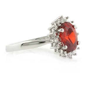 Oval Cut Stone Fire Cherry Opal Ring