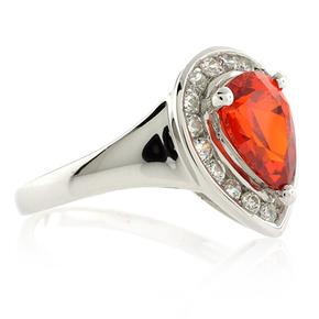 Pear Cut Mexican Fire Cherry Opal Ring