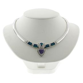 Australian Opal and Tanzanite Silver Necklace