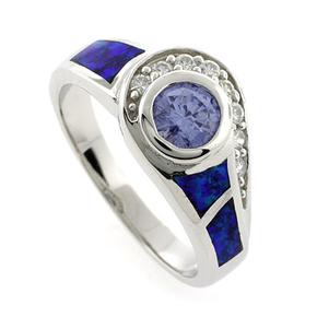 Australian Opal Ring with Round Tanzanite