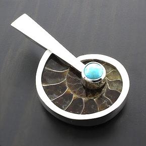 Genuine Fossil (Ammonite) Turquoise Pendant