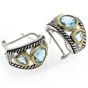 Beautiful Designer Inspired Blue Topaz Sterling Silver Earrings