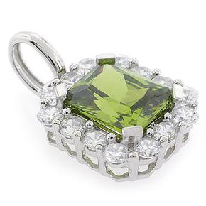 Emerald Cut Peridot Sterling Silver Pendant