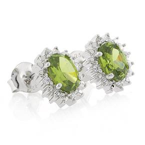 Peridot Very Elegant Fashion Silver Earrings