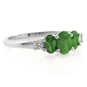3 Oval Cut Emerald Sterling Silver Ring