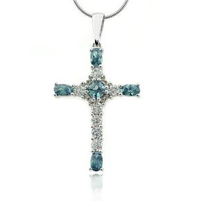 Silver Cross Alexandrite Pendant