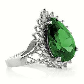 Big Pear Cut Emeral Silver Ring