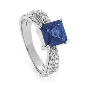 Princess Cut Tanzanite Silver Ring
