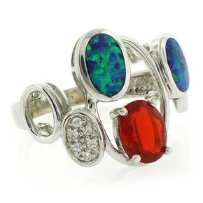 Australian Opal Mexican Genuine Fire Opal Silver Ring