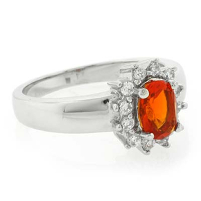Authentic Fire Oval Cut Opal Silver Moss Ring