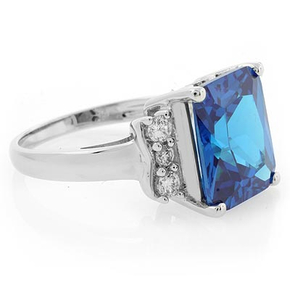 Sterling Silver Emerald Cut Blue Topaz Ring