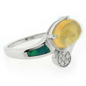 Genuine Fire Jelly Opal Blue Opal Silver Ring