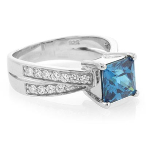 Sterling Silver Square Blue Topaz Ring