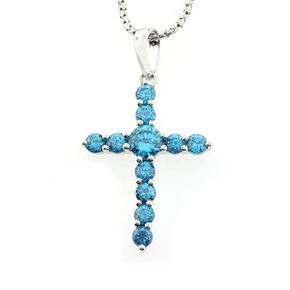 Blue Topaz Silver Cross Pendant