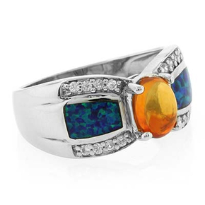Mexican Genuine Fire Opal Silver Ring
