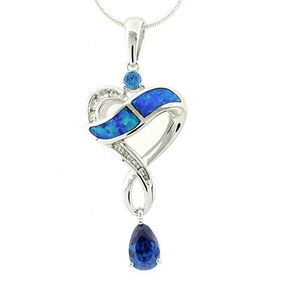 Blue Topaz with Opal Silver Slide Pendant