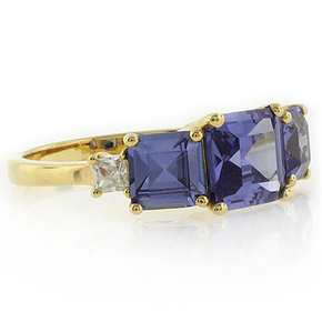 3 Stone Tanzanite Sterling Silver Gold Plated Ring