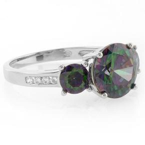 Sterling Silver 3 Stone Mystic Topaz Ring