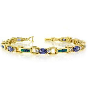 "Tanzanite and Opal Bracelet in Sterling Silver 7.5"""
