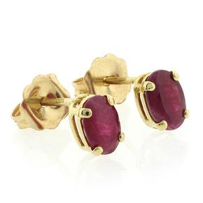 Ruby 14k Yellow Gold Stud Earrings