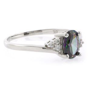 Solitaire Oval Cut Mystic Topaz Sterling Silver Ring
