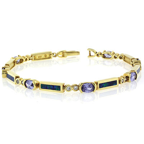 "Blue Opal and Tanzanite Bracelet In Sterling Silver 7.5"""