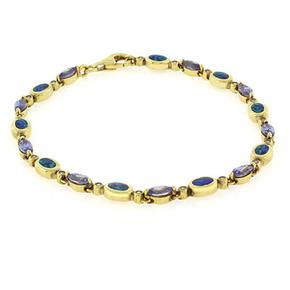"Opal and Tanzanite Bracelet In Sterling Silver 7.5"""