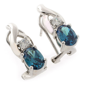 Oval Cut Alexandrite Silver Earrings with Omega Closure