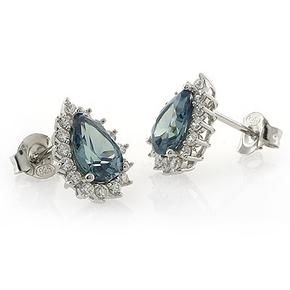 Alexandrite Pear Cut Framed Silver Earrings