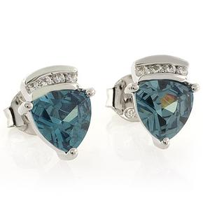 Alexandrite Trillion Cut Silver Stud Earrings
