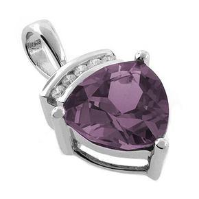 Changing Color Alexandrite Sterling Silver Pendant