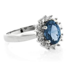 Blue Topaz Princess Kate Style Ring