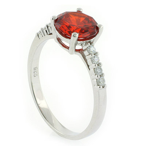 Solitaire with Accents Fire Opal Silver Ring